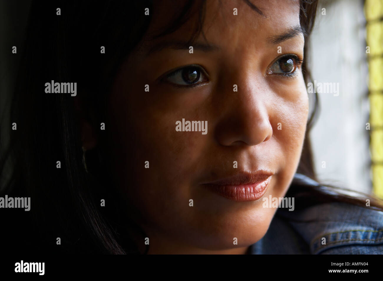 Made up window asian woman web cam
