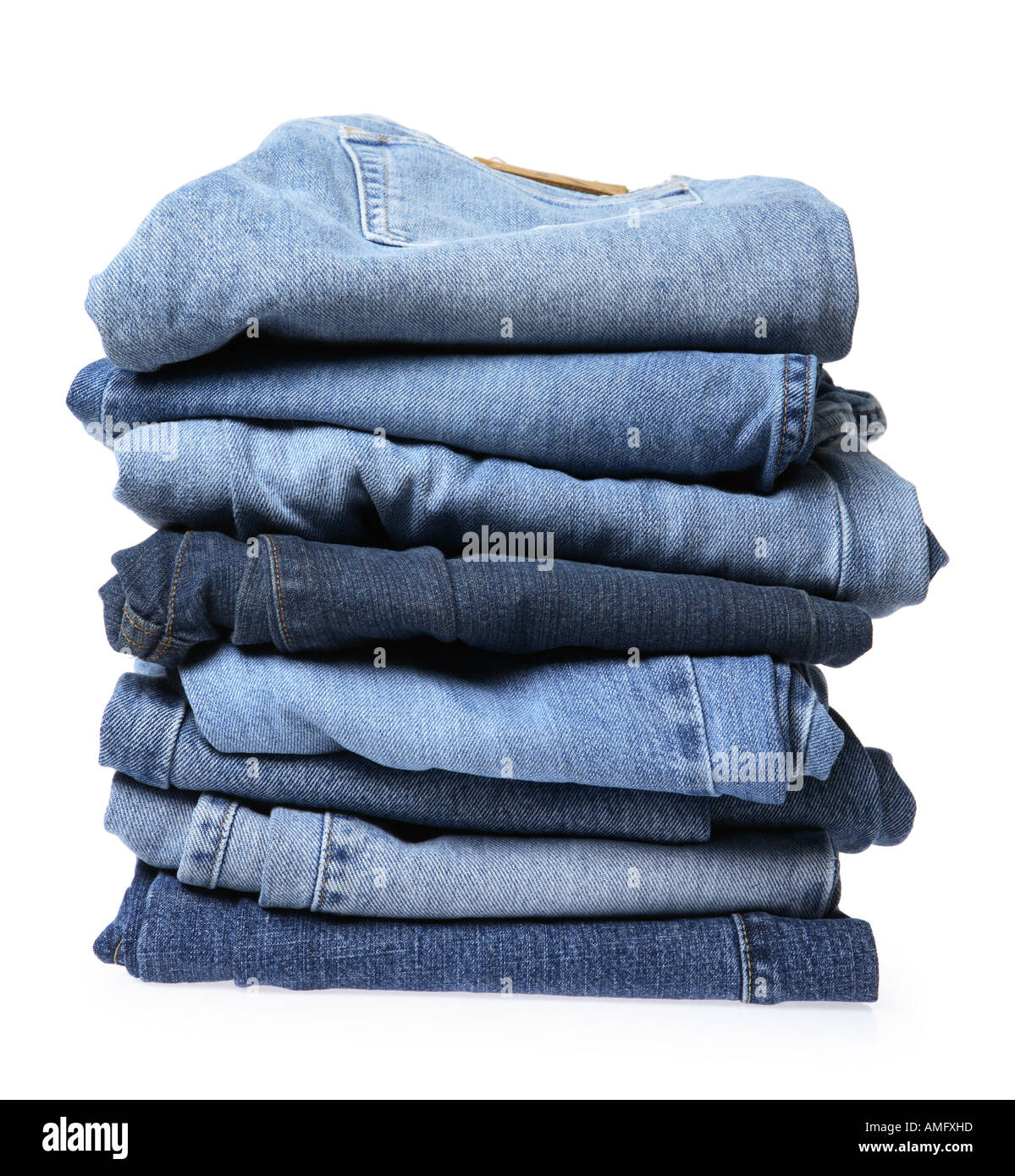 Blue Denim Jeans Stack - Stock Image