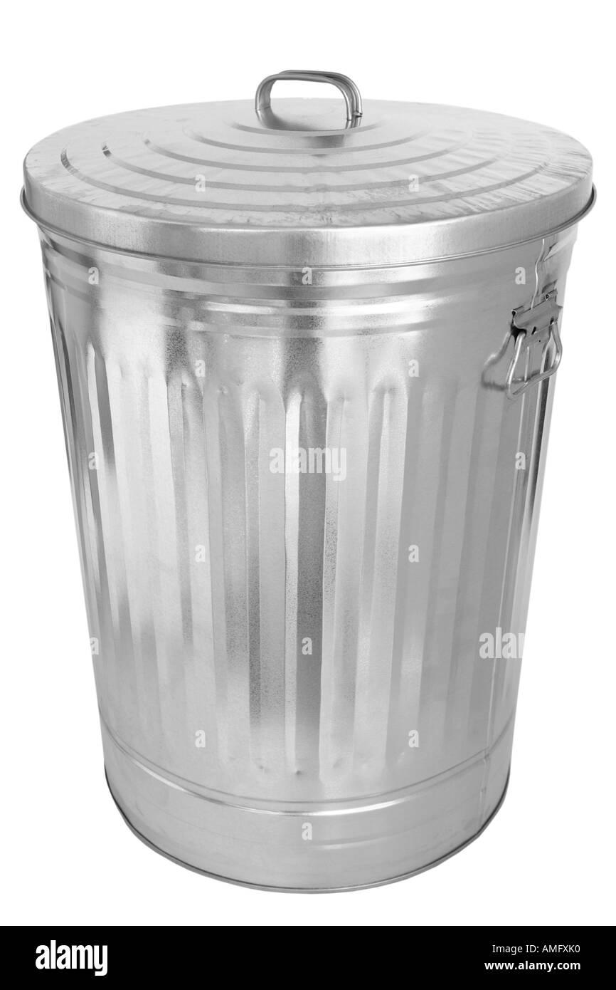 Metal Garbage Can - Stock Image