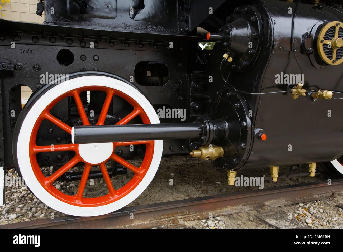 Steam locomotive wheel with piston detail - Stock Image