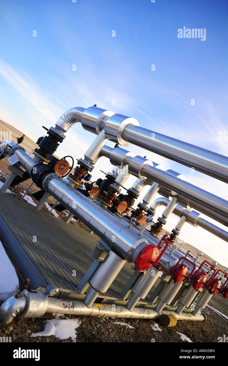 pipeline risers with pig receivers. - Stock Image