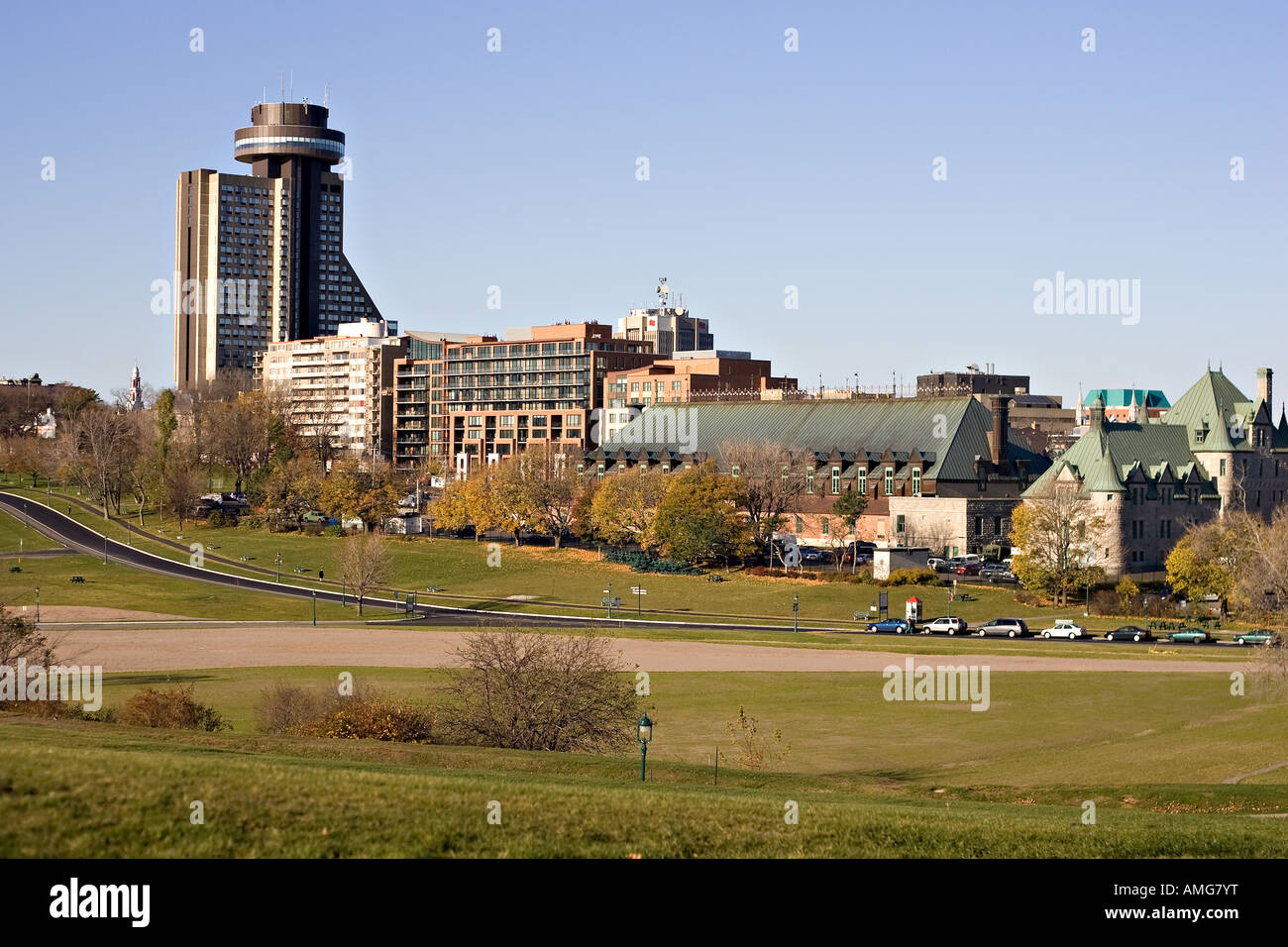 Quebec City's skyline from the Plains of Abraham - Stock Image