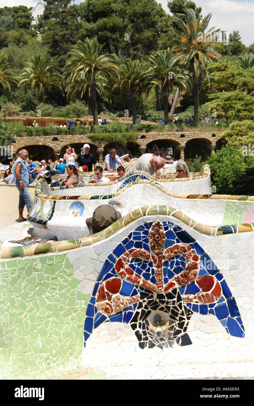 view of main square and gardens Parc Guell Barcelona Spain Stock Photo