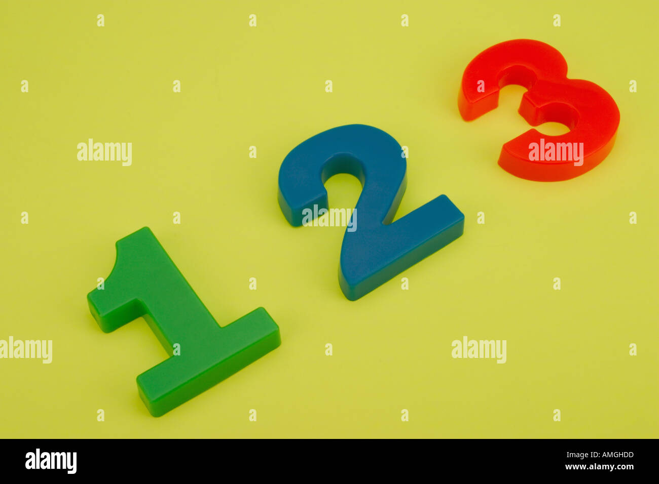 Plastic numbers 1 2 3 - Stock Image