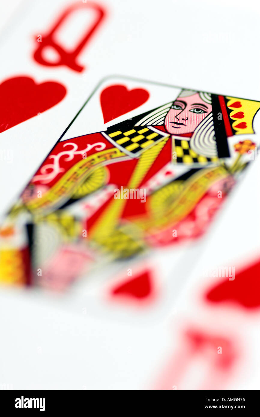 Close up Queen of Hearts playing card - Stock Image