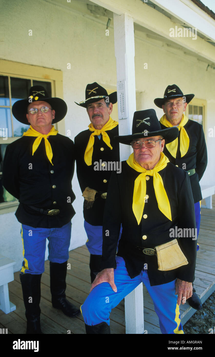 Costumed docents in  1st US Cavalry Uniforms  at the Fort Verde State Historic Park in Verde Valley Arizona - Stock Image