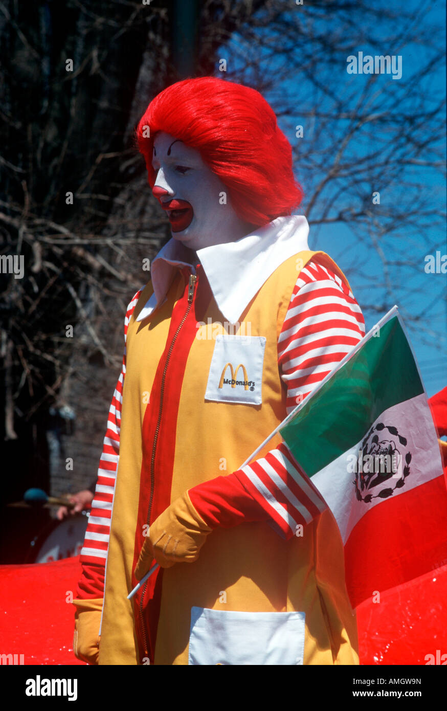 Ronald McDonald with Mexican flag. - Stock Image