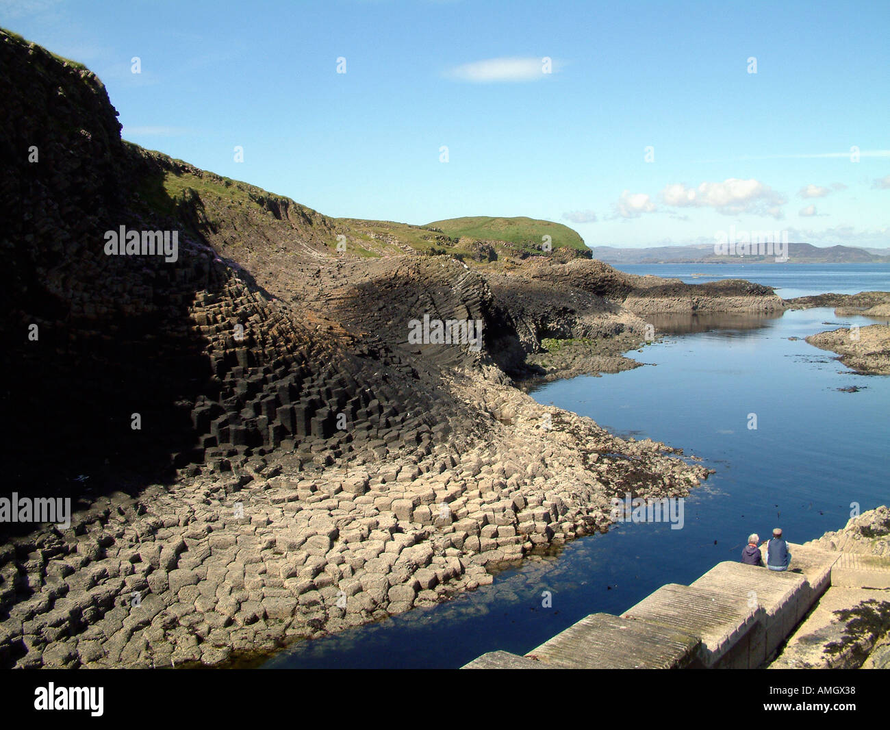 A view of the island of Staffa Scotland UK - Stock Image