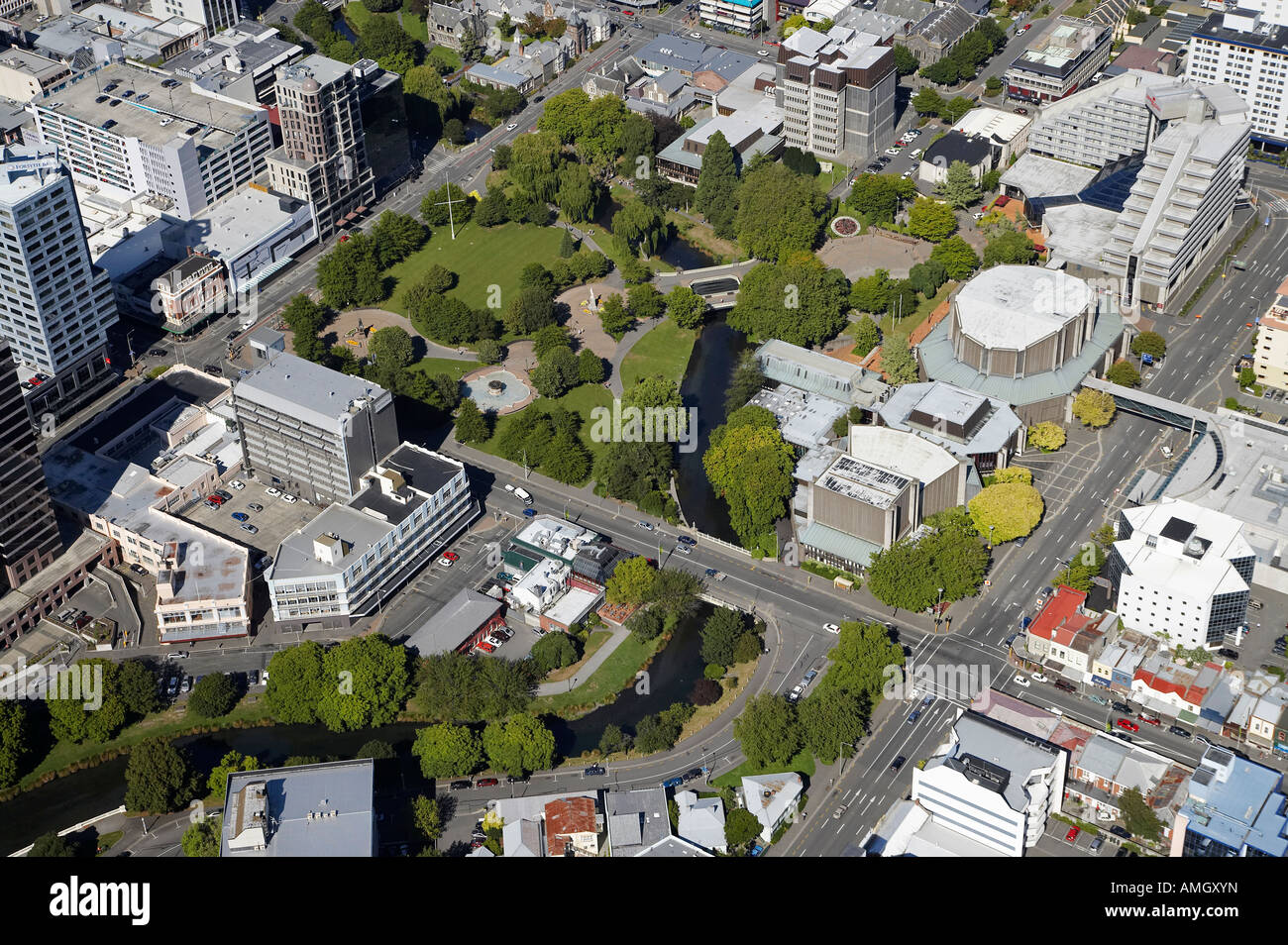 Victoria Square and Avon River Christchurch Canterbury South Island New Zealand aerial - Stock Image