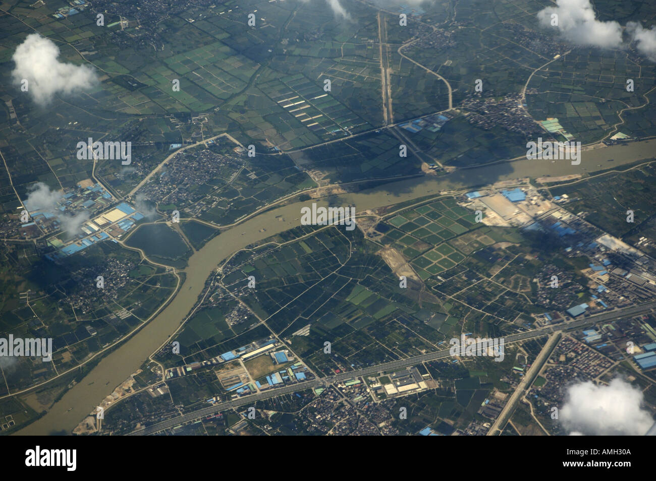 City of Shenzhen as seen from an arriving airplane, Guangdong, China. Stock Photo