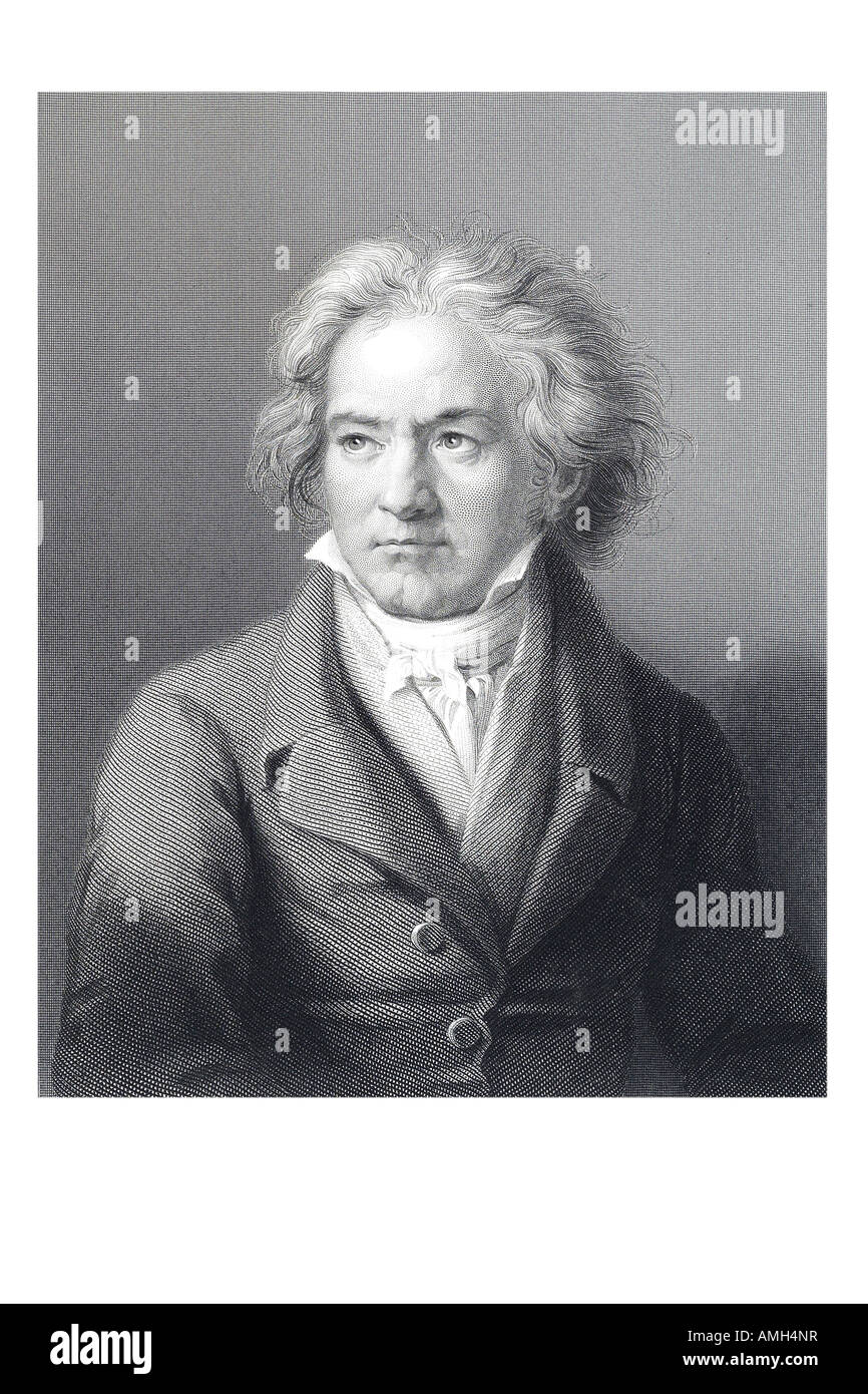 Ludwig Van Beethoven 1770 1827 Composer virtuoso pianist Classical Romantic respected influential composers hearing - Stock Image
