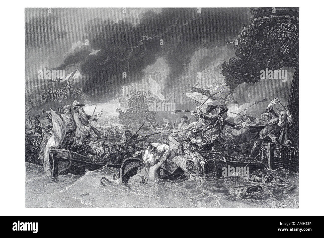 Battle Barfleur La Hogue Destruction French fleet 1692 Anglo Dutch naval victory over French Tourville War Grand - Stock Image