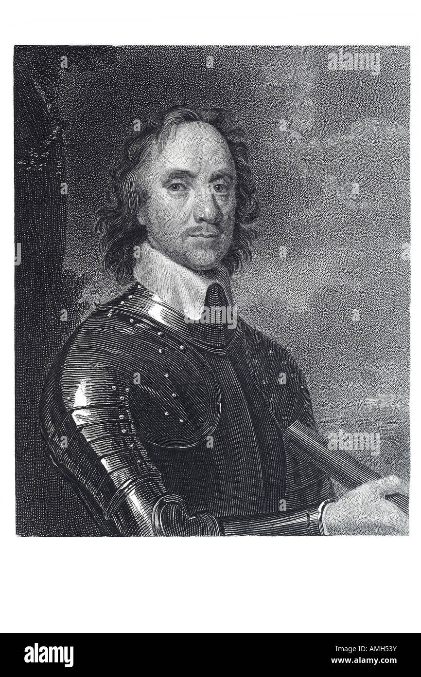 Oliver Cromwell 1599 1658 English soldier statesman Commander Chief Parliamentary forces military political leader - Stock Image