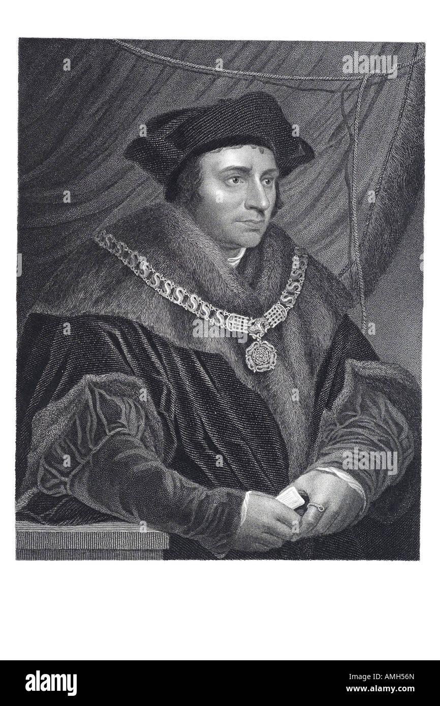 Sir  Saint Thomas More 1478 1535 English statesman lawyer author humanist scholar Lord Chancellor utopia imaginary - Stock Image