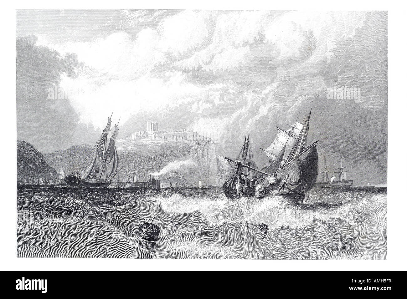 Dover Kent 1860 Ship rough weather Channel port  Dover water wave sail castle transport boat sea coast buoy weather - Stock Image