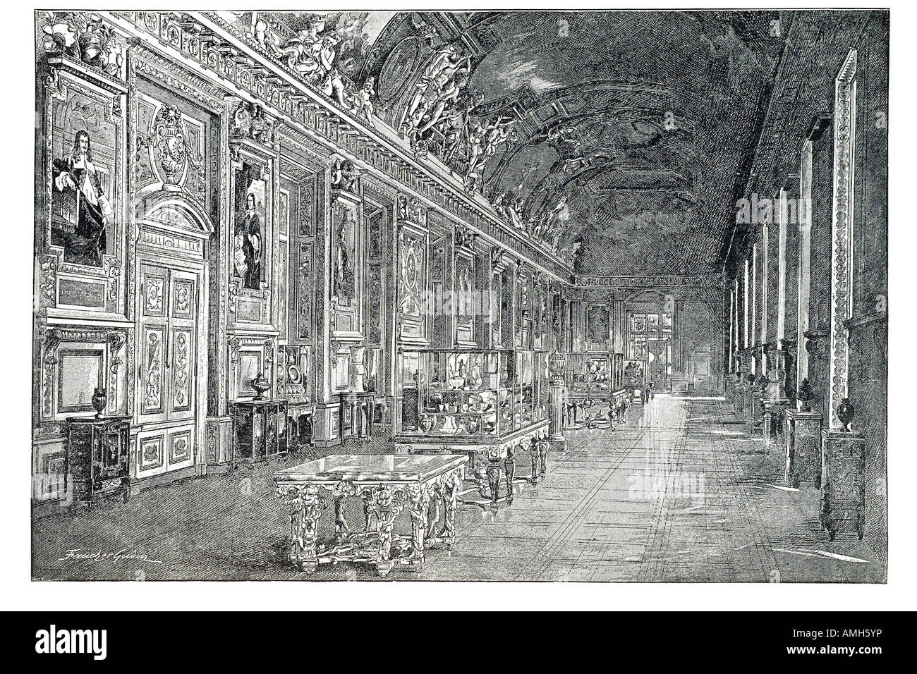 Interior view apollo gallery Galerie d Apollon  Louvre art gallery museum Baroque Denon Wing French France exhibit - Stock Image