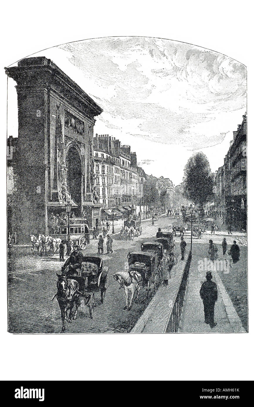 boulevard and porte saint denis horse drawn taxi hackney carriage France French street  triumphal arch transport - Stock Image