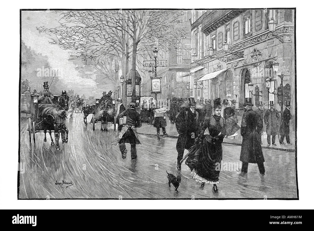 boulevard des italiens horse drawn taxi hackney carriage France French street transport publicshop trade apartment - Stock Image