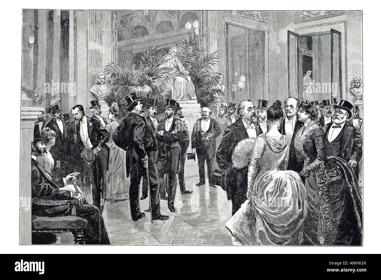 first night comedie francaise foyer society top hat evening formal dress aristocracy upper class well to do theatre - Stock Image