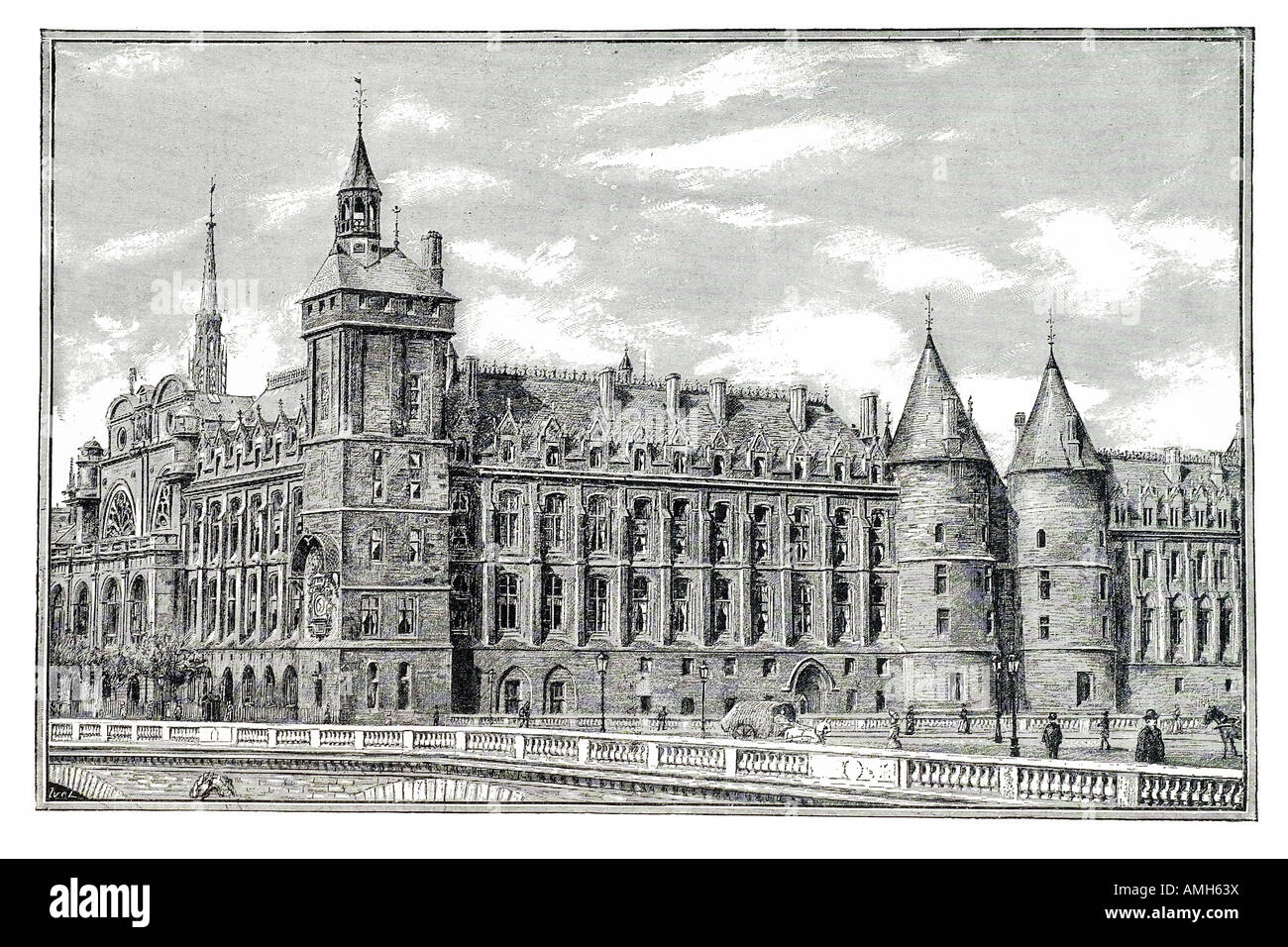 palais de justice Conciergerie and the Pont Neuf former medieval prison Courts of Justice River Seine multi story - Stock Image