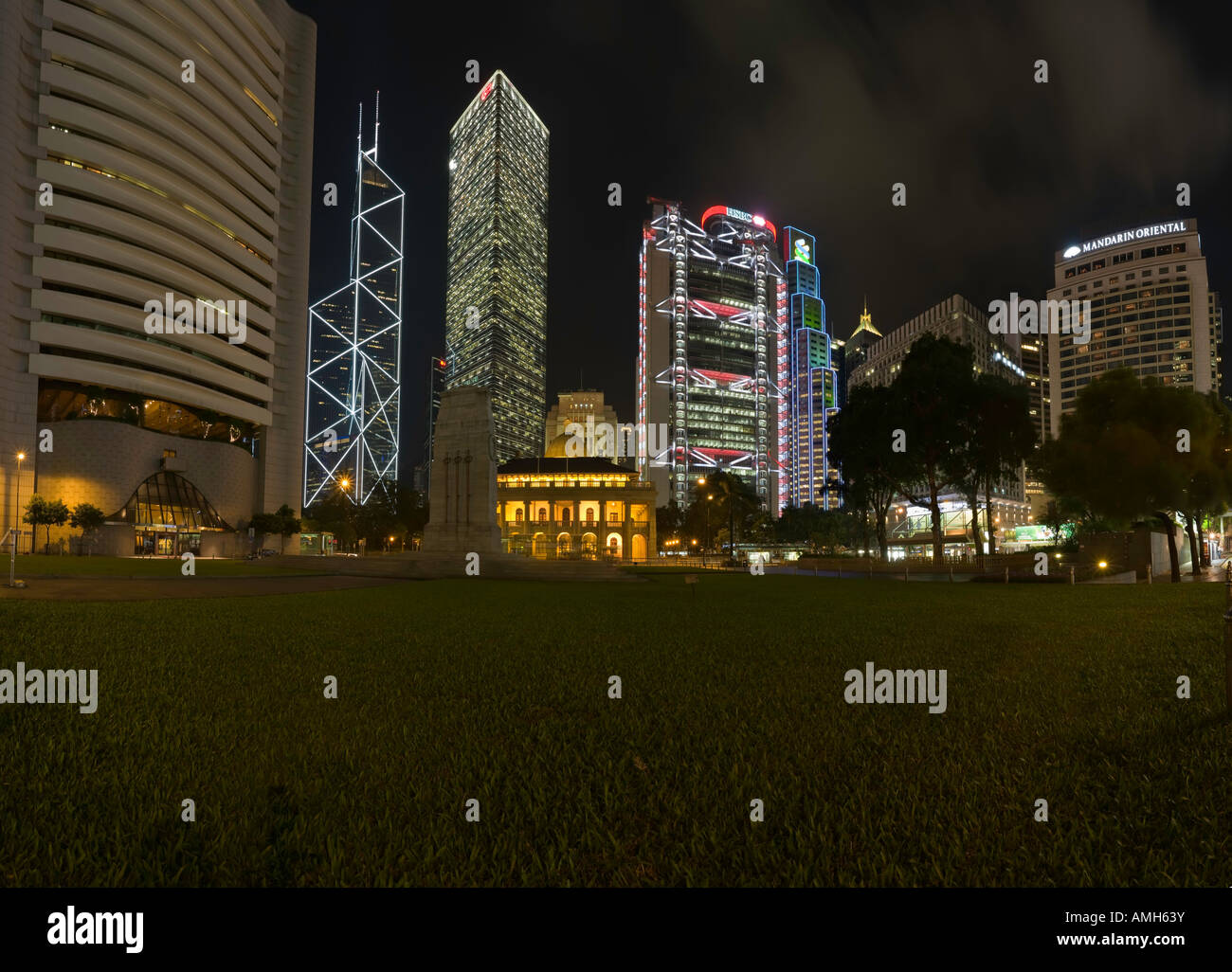 A night-time panorama of the area around the Cenotaph and Statue Square, Hong Kong, China. - Stock Image