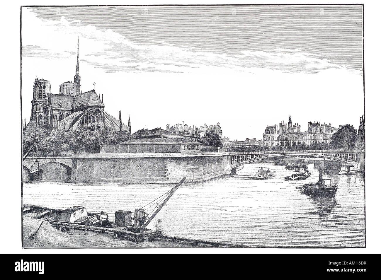 east end Ile de la cite Notre dame morgue Pont st Louis saint river Seine cathedral Paris Parisian France Franco - Stock Image