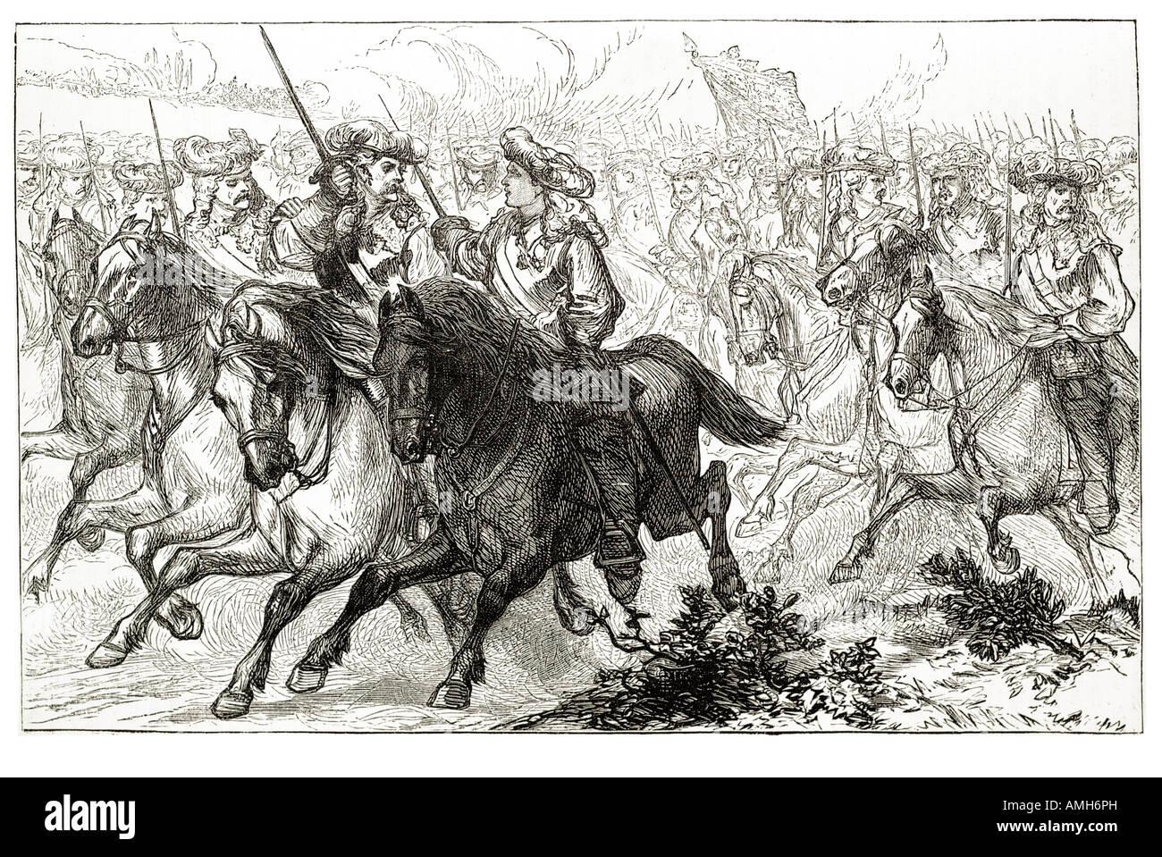 Prince Eugene wounded Jacobite rebellion Scotland Scot Scottish UK United Kingdom GB Great Britain British cavalry - Stock Image