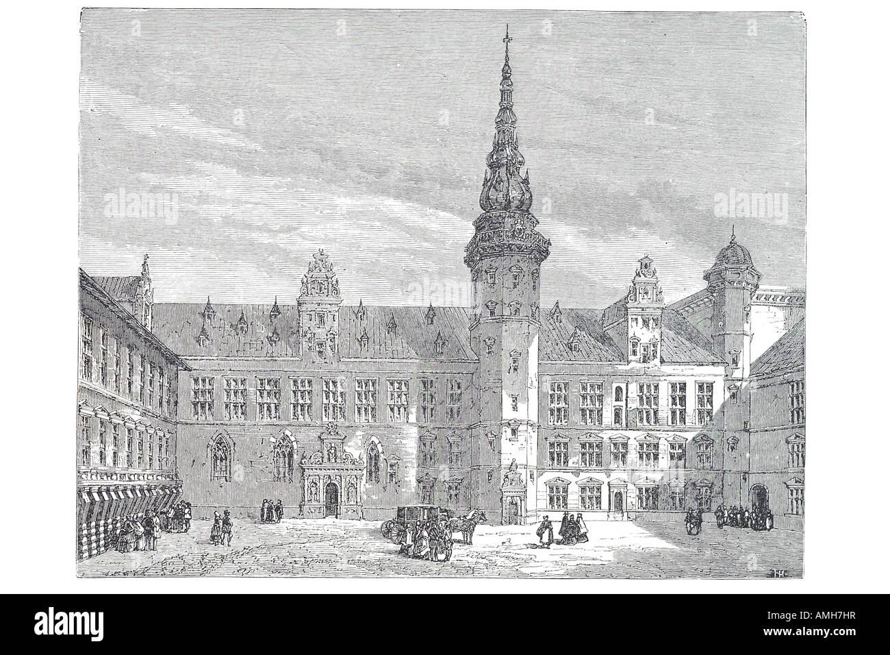 danish chateau castle, Denmark, Scandinavia, Europe, national historical museum courtyard - Stock Image