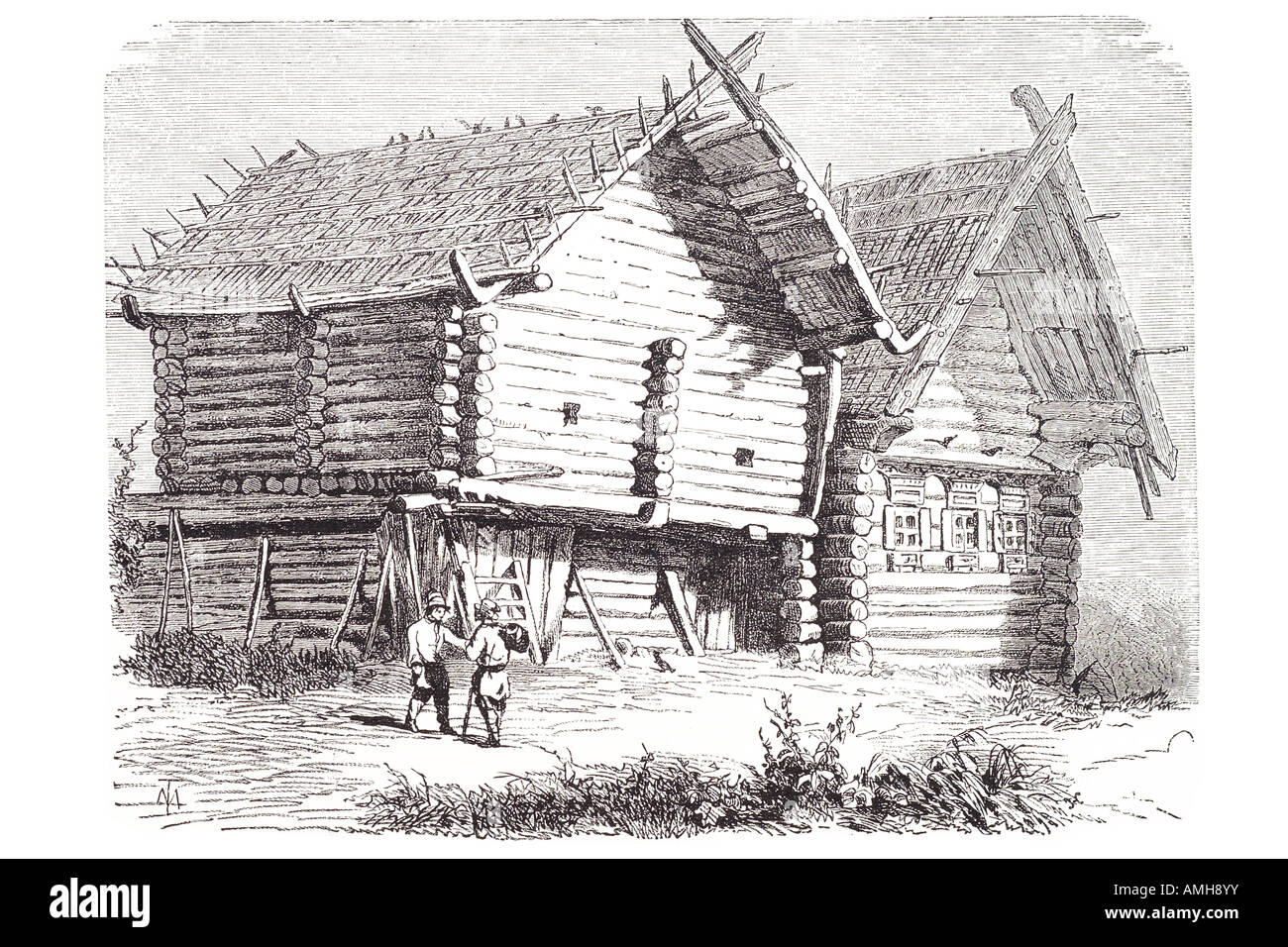 lettish Latvia Lettisch farmhouse log cabin wood timber