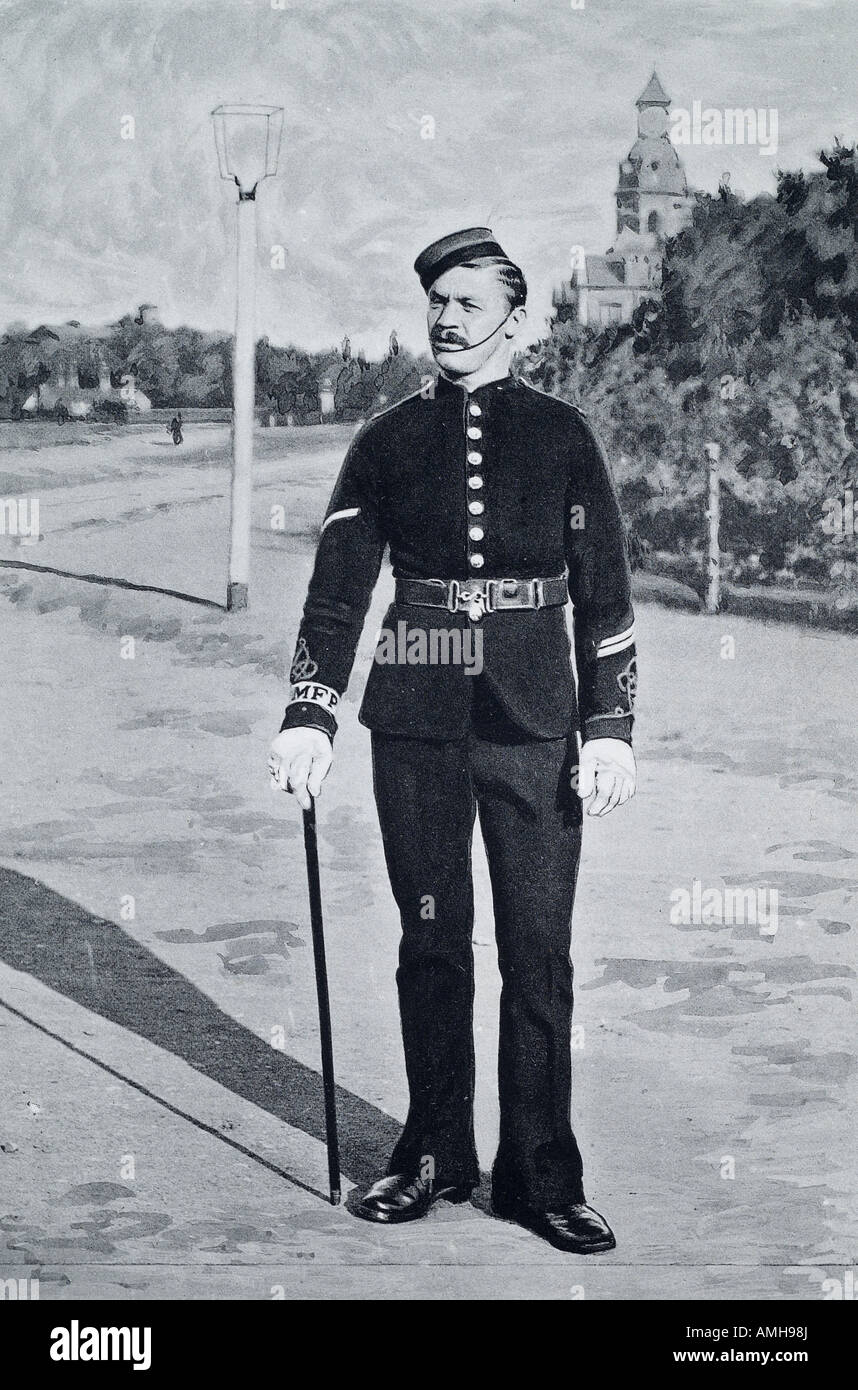 British military police English England UK army uniform dress cap stick 1900 army soldier white glove - Stock Image