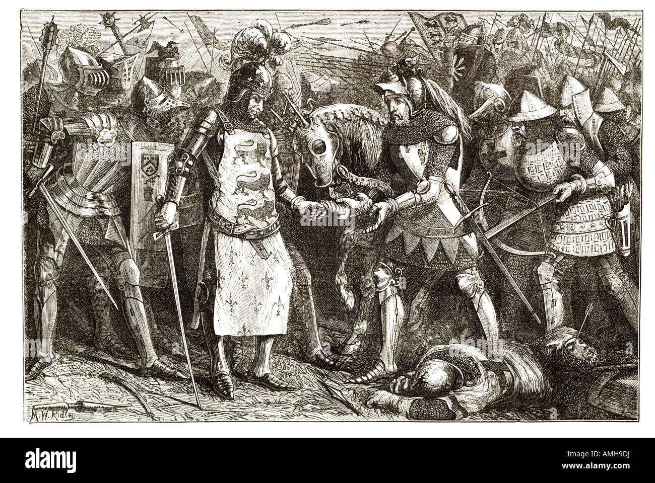 surrender of king of france at poictiers knight armour field battle defeat cross bow sword foot soldier war horse Stock Photo