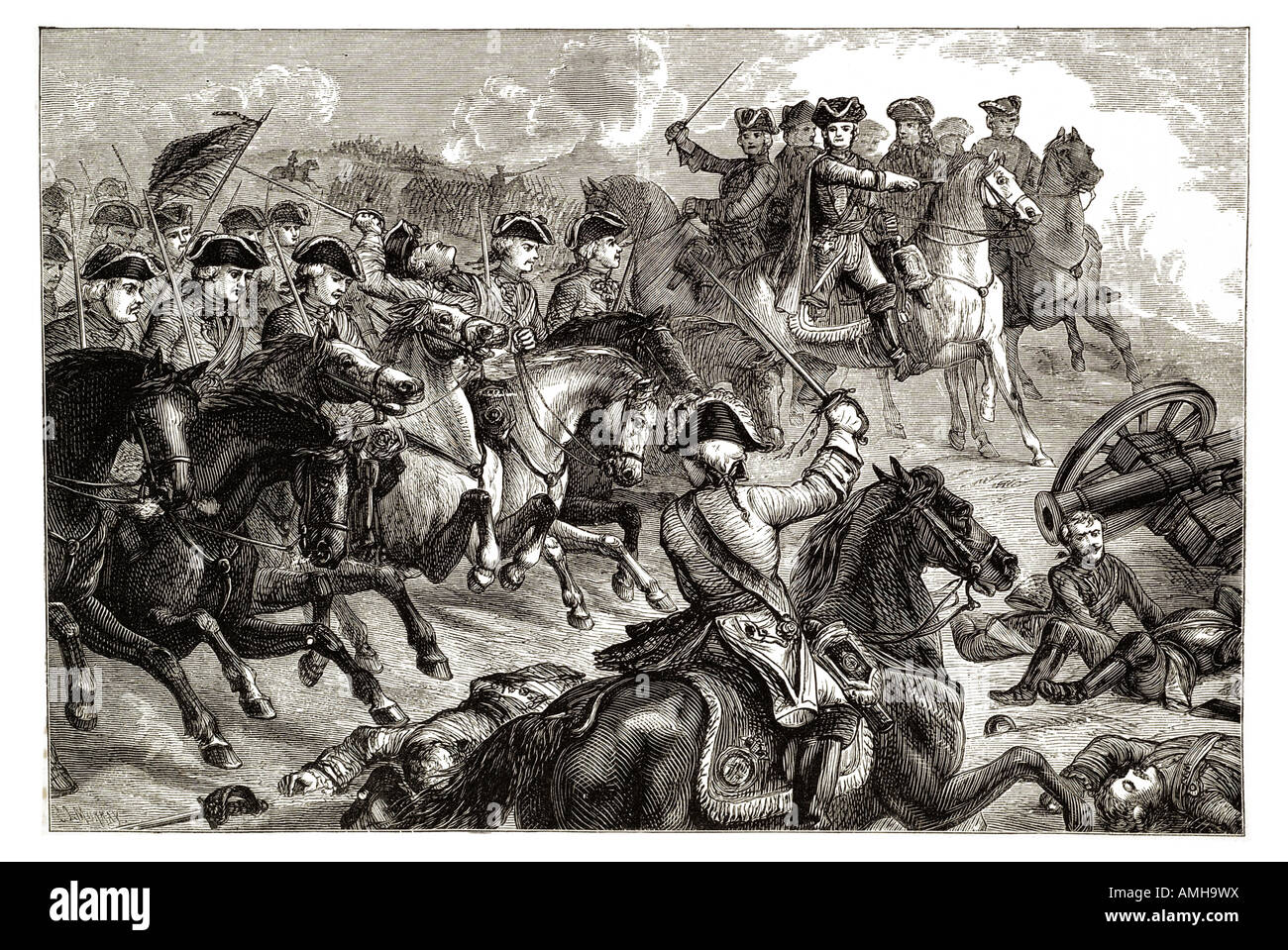 King George II  Dettingen 2nd 1743 Bavaria War Austrian Succession second Germany horse cavalry charge battle foot - Stock Image