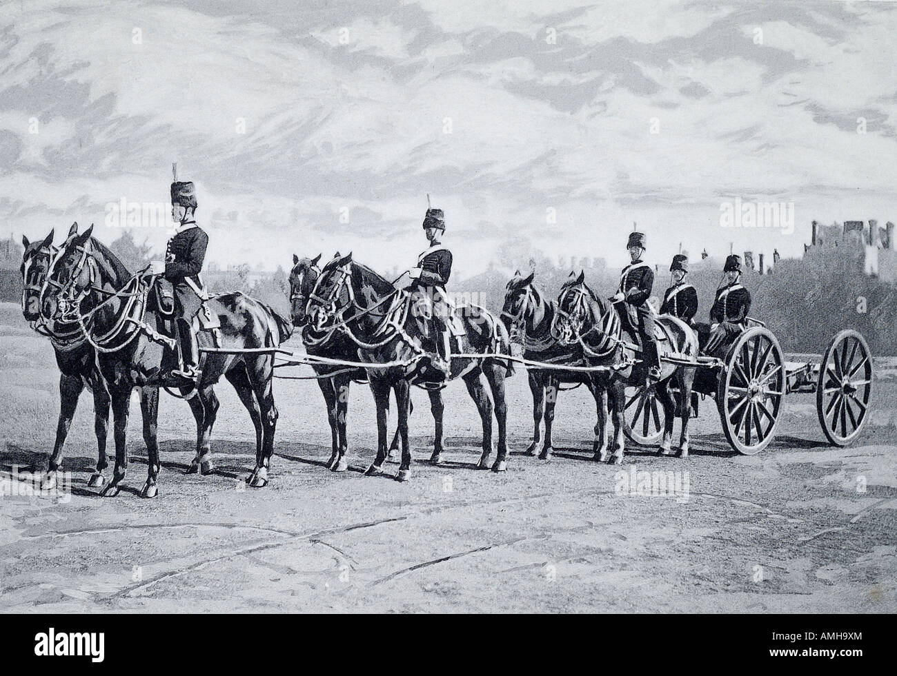 gun team royal horse drawn artillery king troop display show tattoo household salute Hyde park state occasion carriage - Stock Image