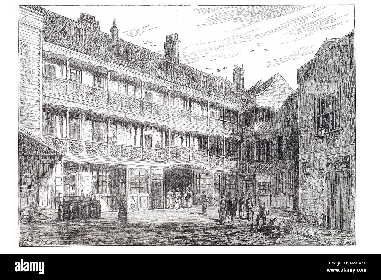 LUDGATE HILL Inner court of the Belle Sauvage London c1880 old antique print