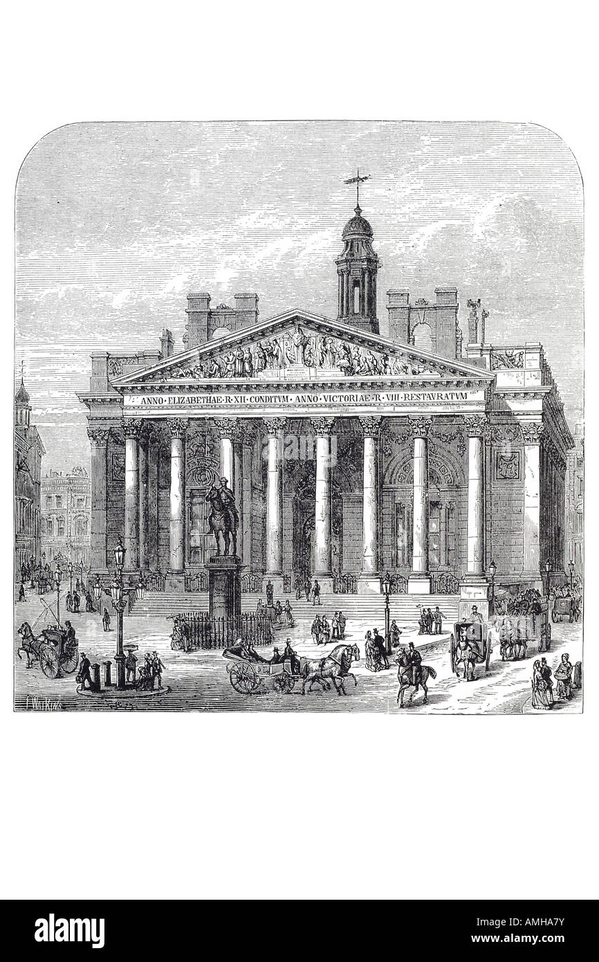 1844 third 3 royal exchange exterior front thread needle street horse carriage traffic London City capital England - Stock Image