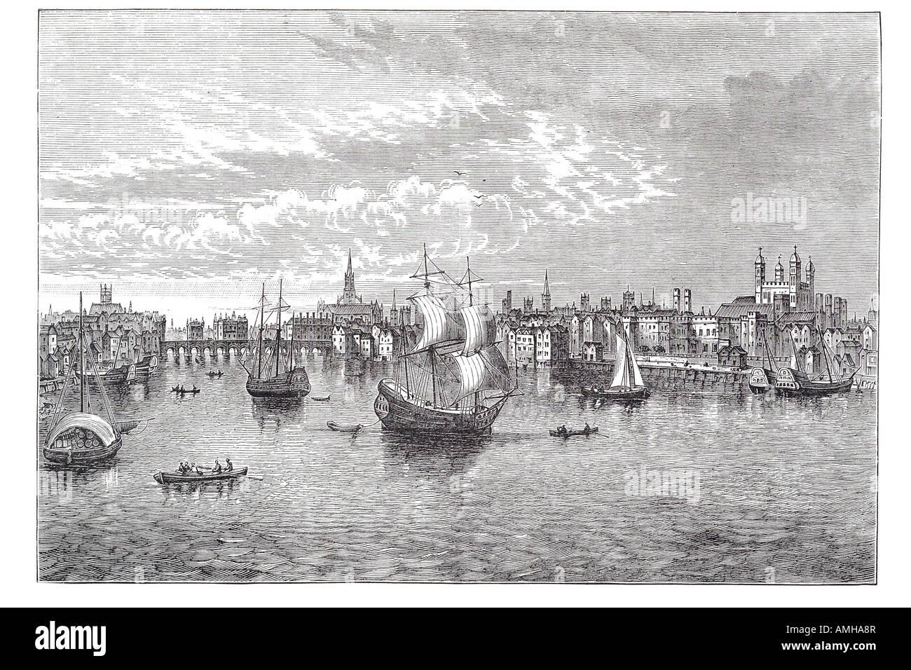 1550 south east river Thames sailing ship boat trade transport London City capital England English Britain British - Stock Image