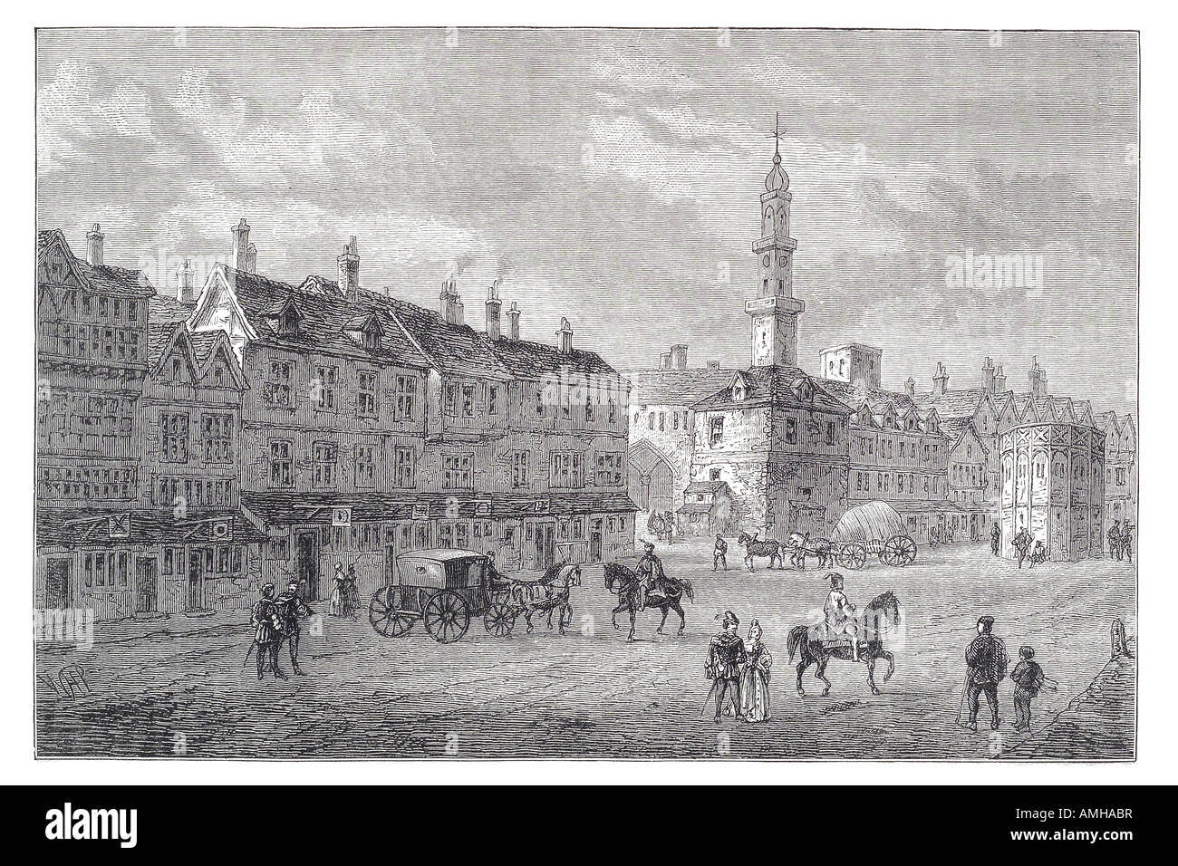 1630 cornhill street pavement exterior view horse cart residence building cobbles tower London City capital England - Stock Image