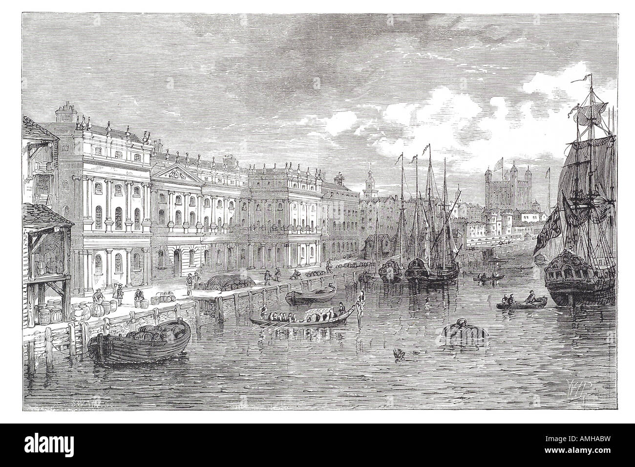 1753 custom house River ThamesTrade Industry boats, ships, loading, unlaoding, cargo, docks London City capital - Stock Image