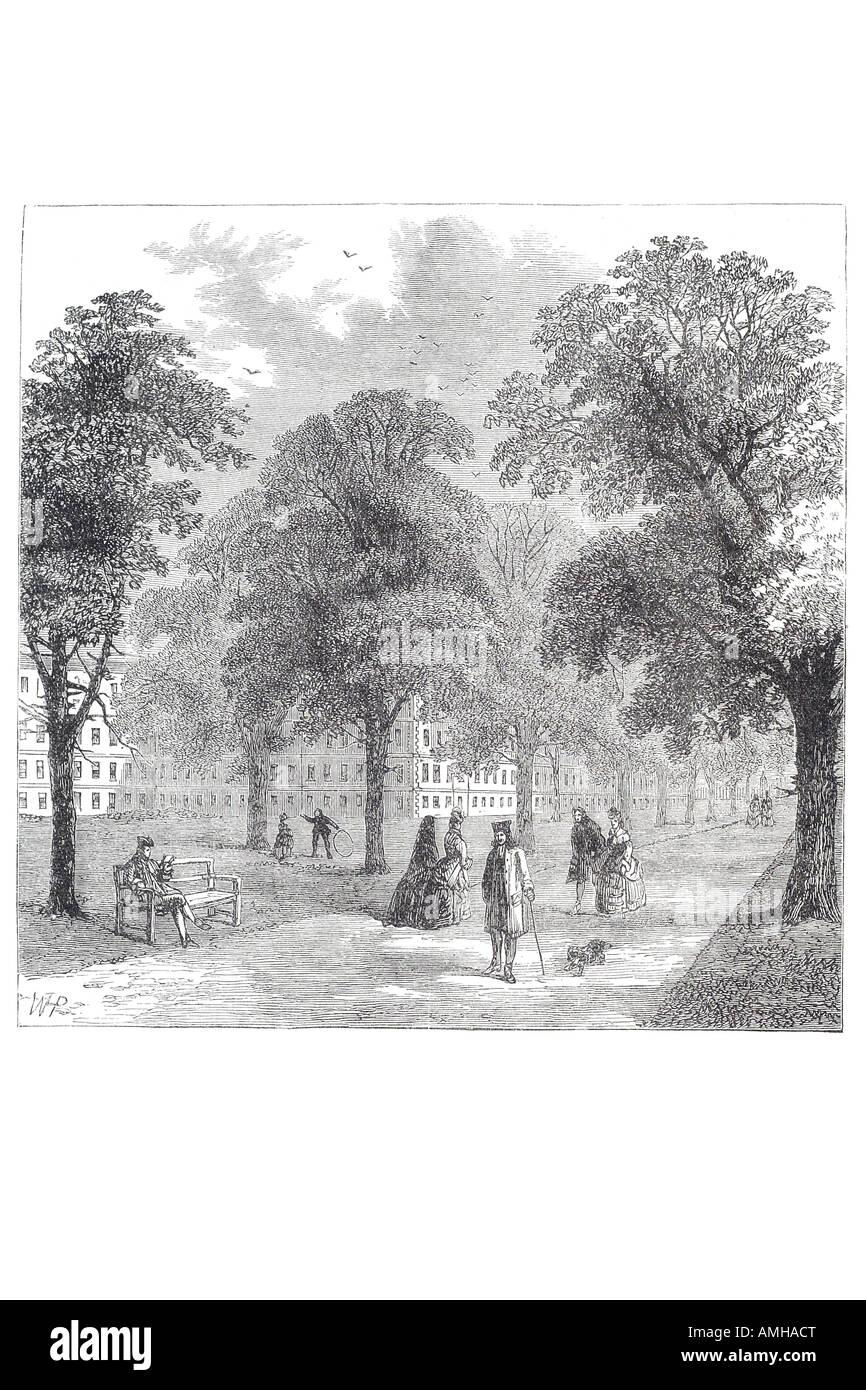 1770 gray's inn garden architecture buildings open air leisure park stroll relax tree grass London City capital - Stock Image