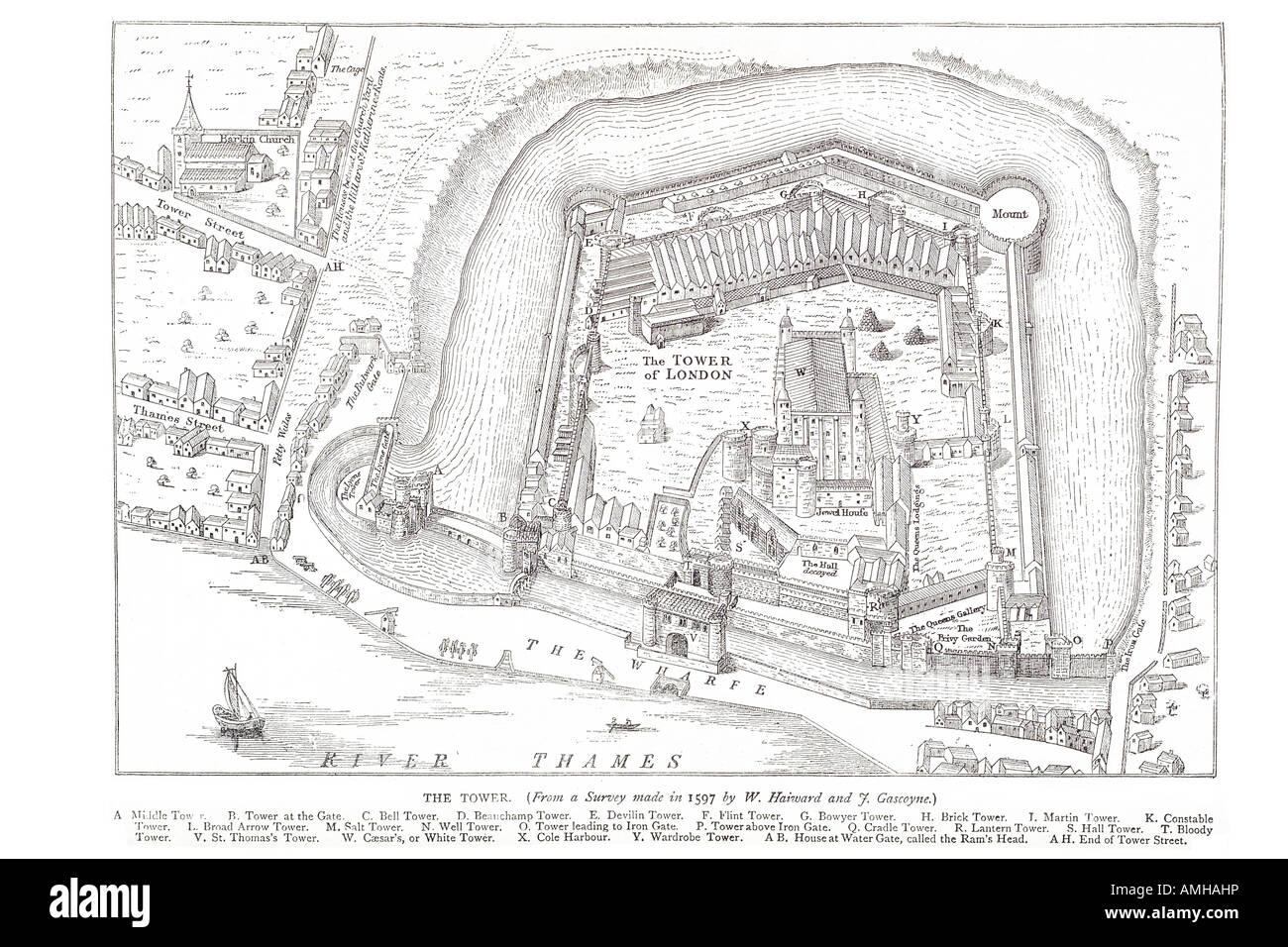 1597 tower arial plan view river thames London Greater capital England English Britain British UK United Kingdom - Stock Image