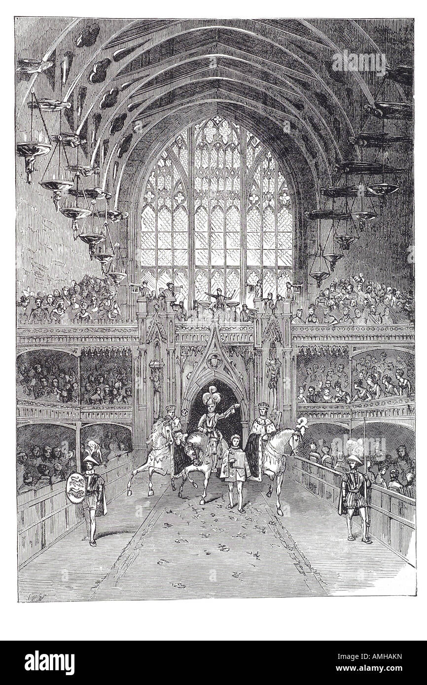 1820 coronation george IV 4 westminster abbey hall champion challenge magnificent and expensive affair ascended - Stock Image