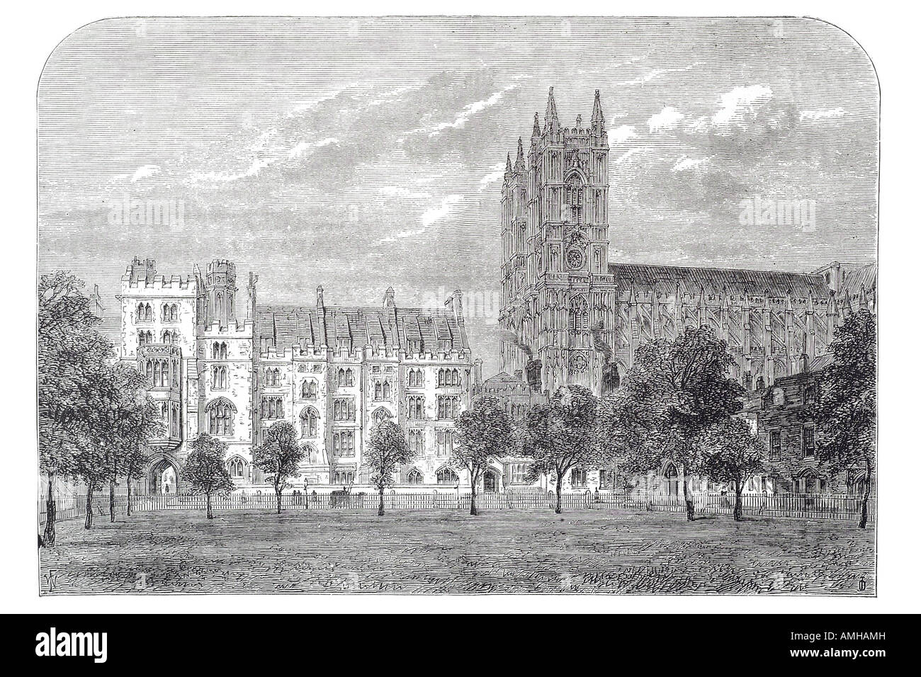 dean's yard Westminster abbey cathedral church Christian royal London Greater capital city England English Britain - Stock Image