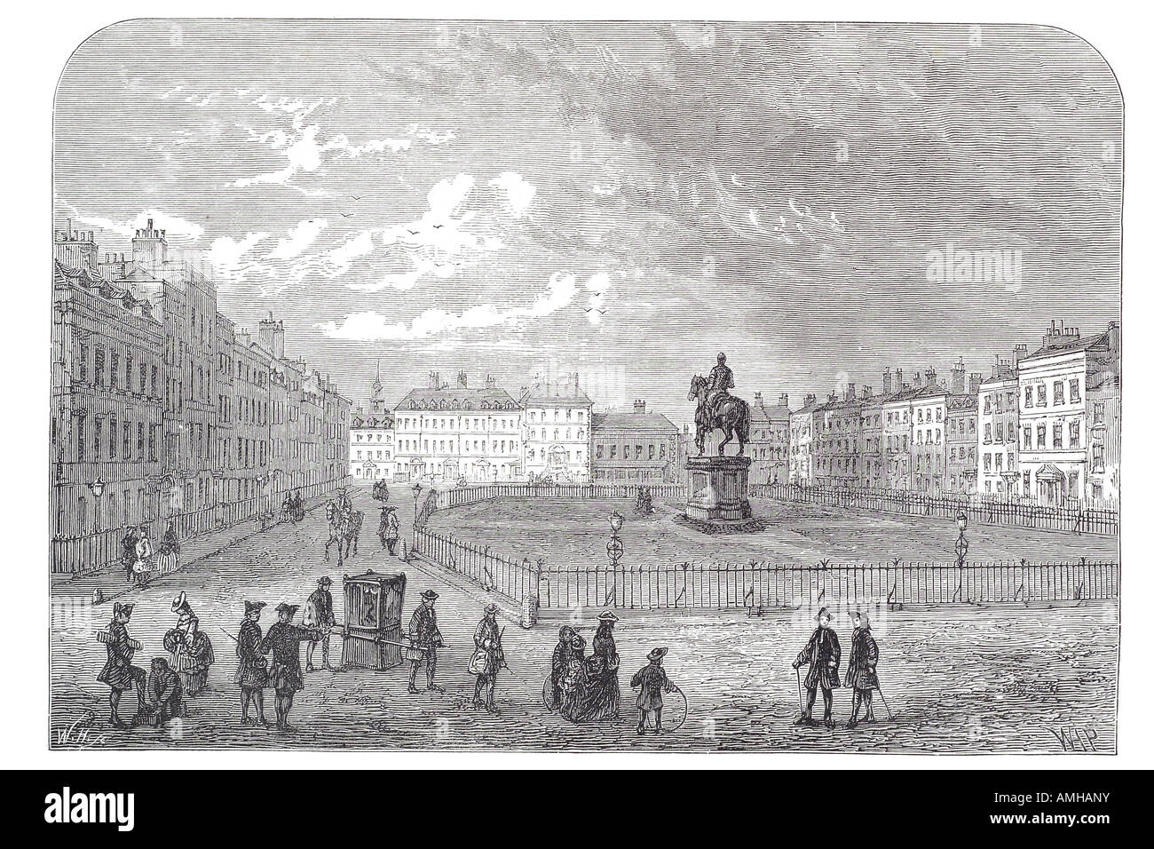 1750 leicester square WC2 westminster mews sedan chair walk horse statue  London Greater capital city England English Stock Photo