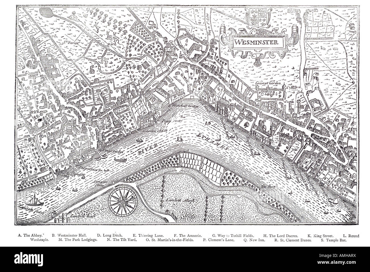 1593 plan Westminster map cartographic river Thames London Greater capital city England English Britain British - Stock Image