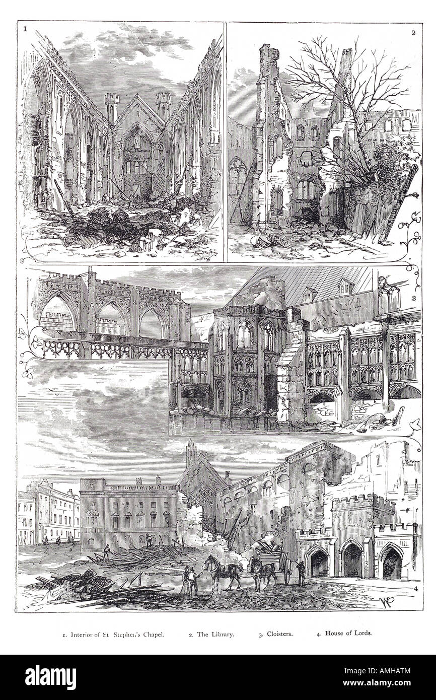 1834 ruin house parliament saint Stephen chapel library cloister lord fire rubble devastation shell conflagration - Stock Image