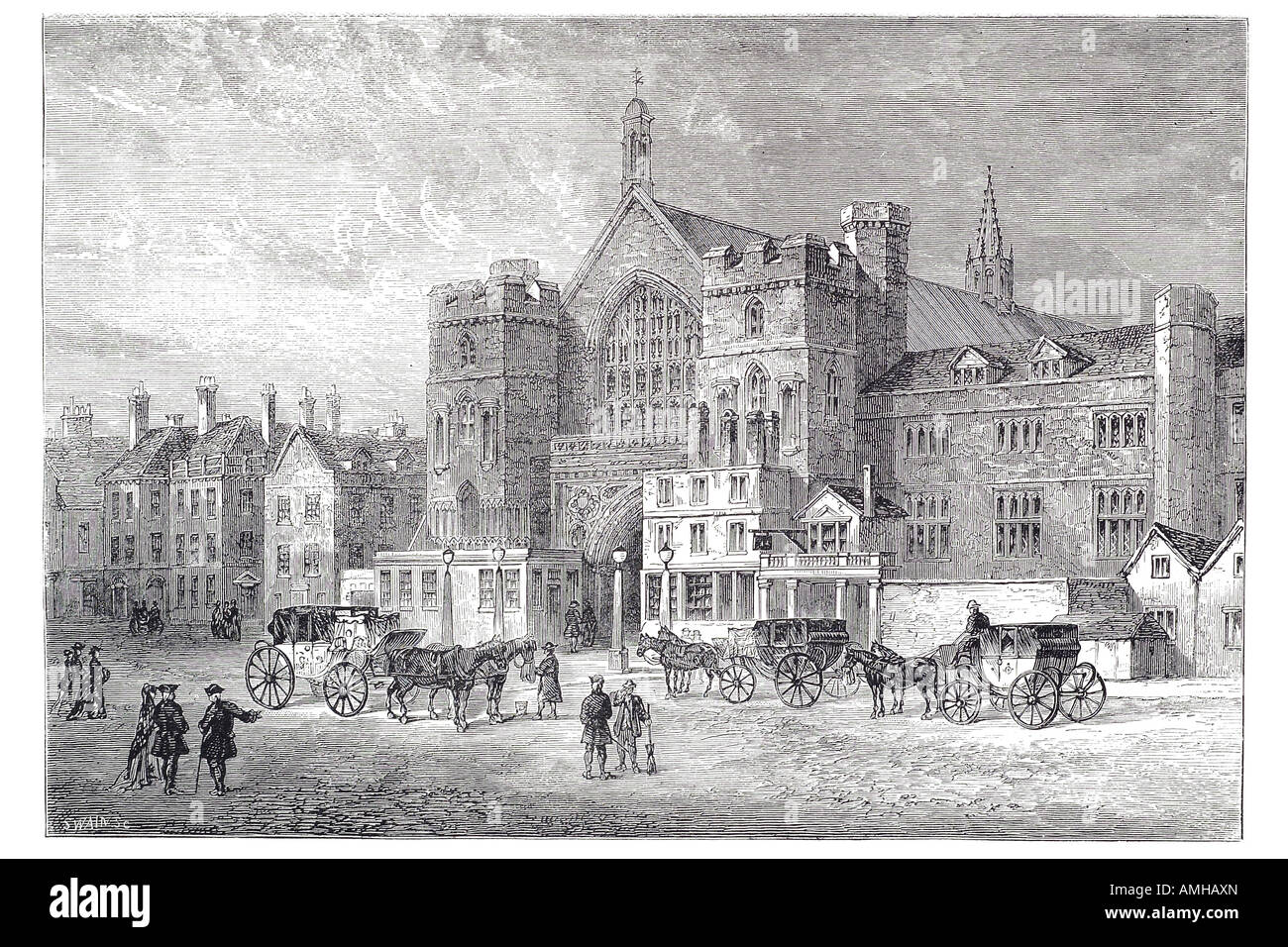 1808 westminster hall  horse carriage taxi hackney cab hire square Central London City royal urban London Greater - Stock Image