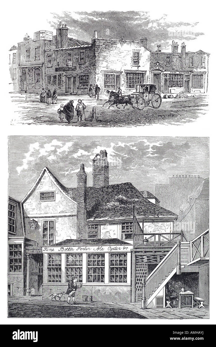 1750 adam eve tavern  1813 manor house toten hall horse carriage taxi hackney cab hire pub Central London City royal - Stock Image
