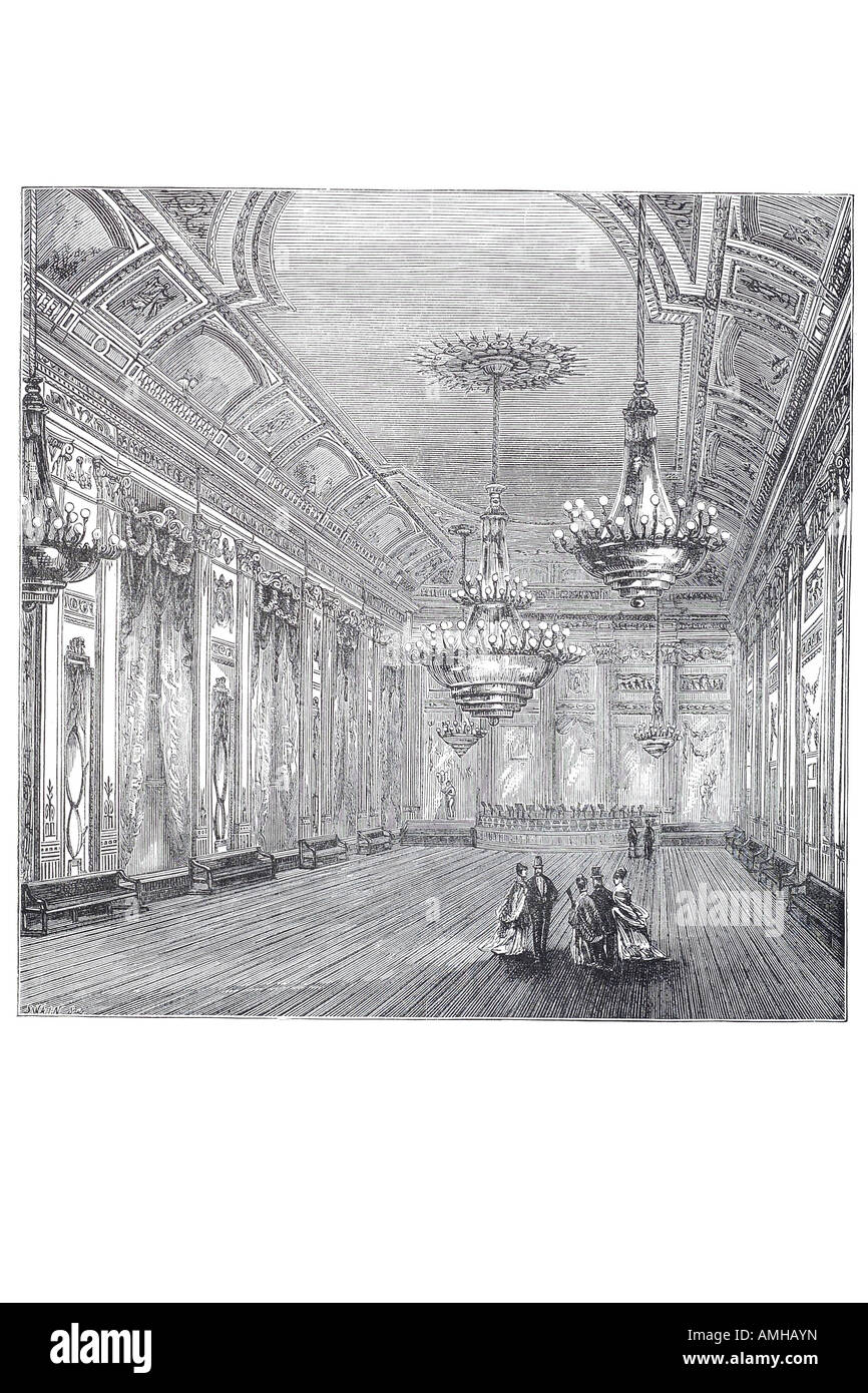 1820 willis's ball room dance high society club private ladies gentlemen social entertainment Central London - Stock Image