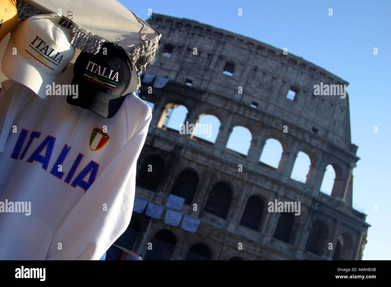 Commercialism by Rome's Colosseum - Stock Image