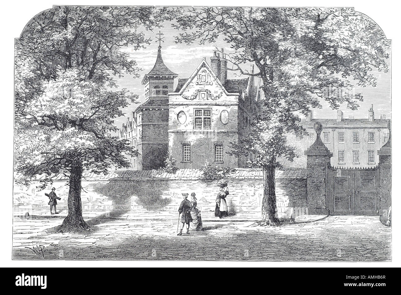 1780 marylebone school house education Central City royal urban London Greater capital England English Britain British - Stock Image